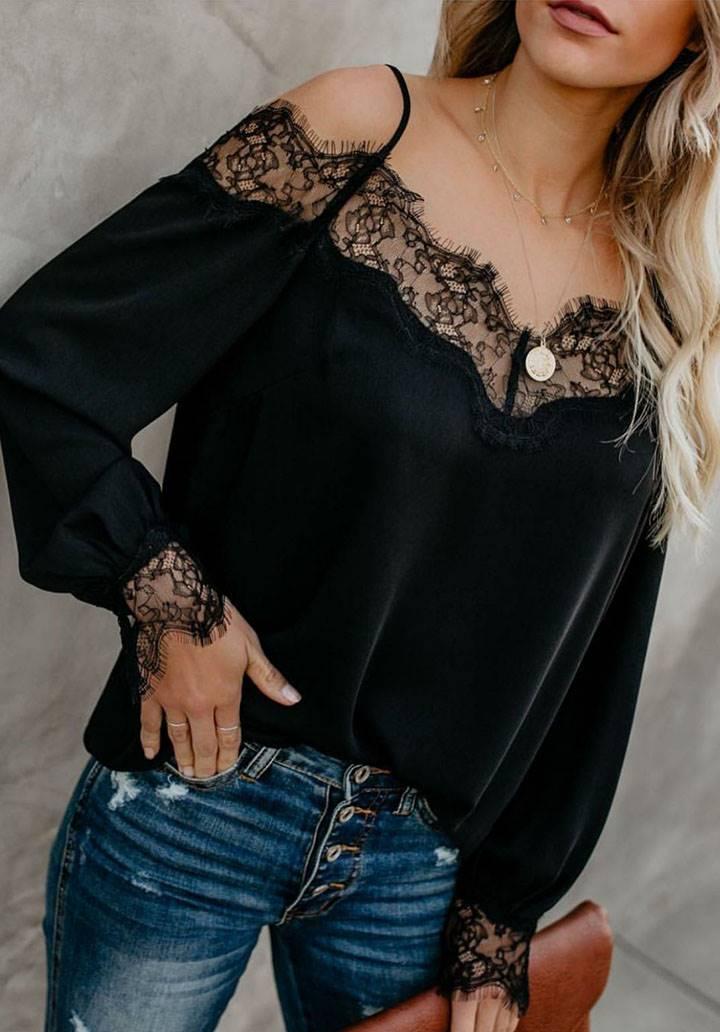 Yakası kolları dantel detay bluz(siyah)
