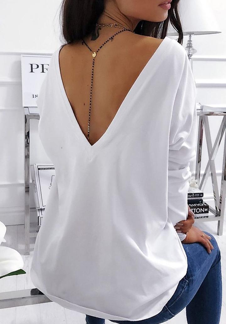 Sırt V Dekolteli Yeni Sezon Bluz (Beyaz)
