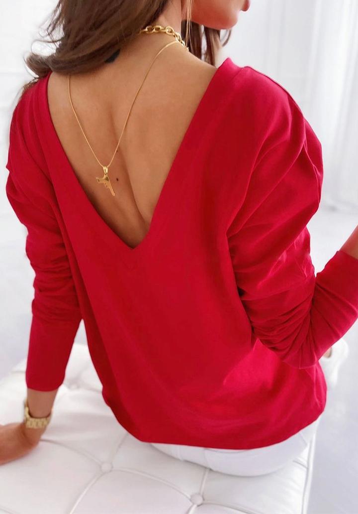 Sırt V Dekolteli Yeni Sezon Bluz (Kırmızı)