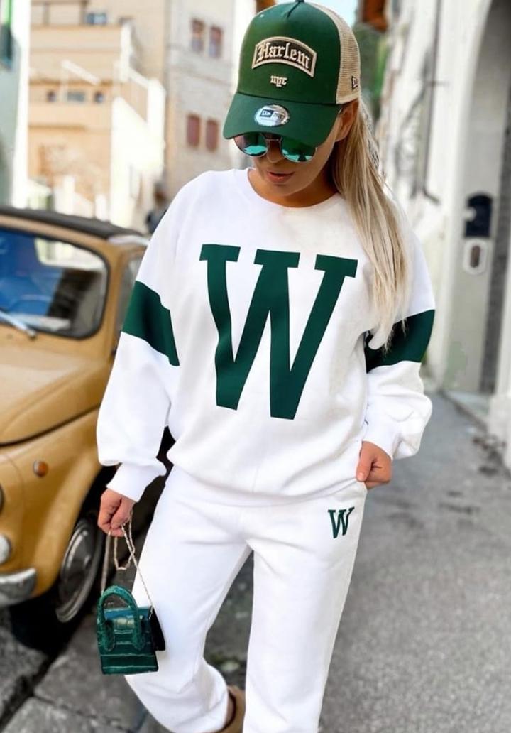 W Baskılı Yeni Sezon İkili Takım (Beyaz)