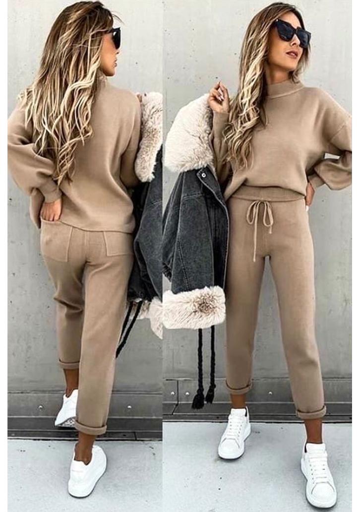 Yarım Balıkçı Yaka Bluz Pantolon İkili Takım (Vizon)