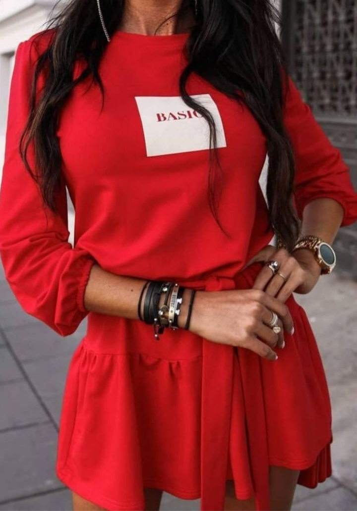 Eteği Kloş Kuşaklı Viscon Elbise (Kırmızı)