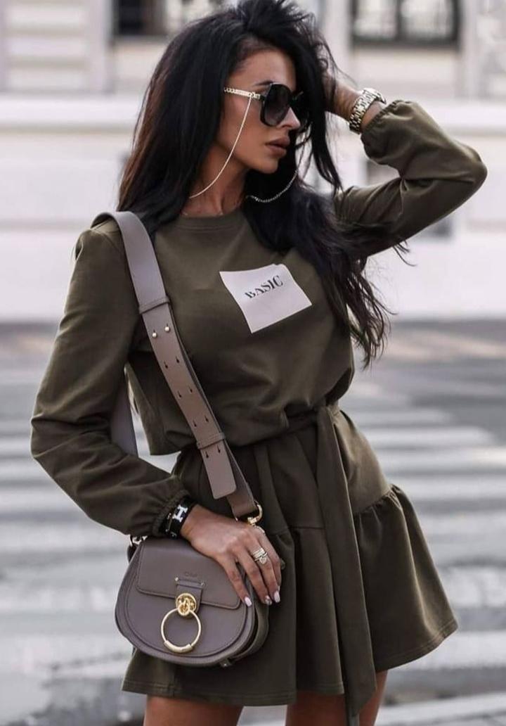 Eteği Kloş Kuşaklı Viscon Elbise (Haki)