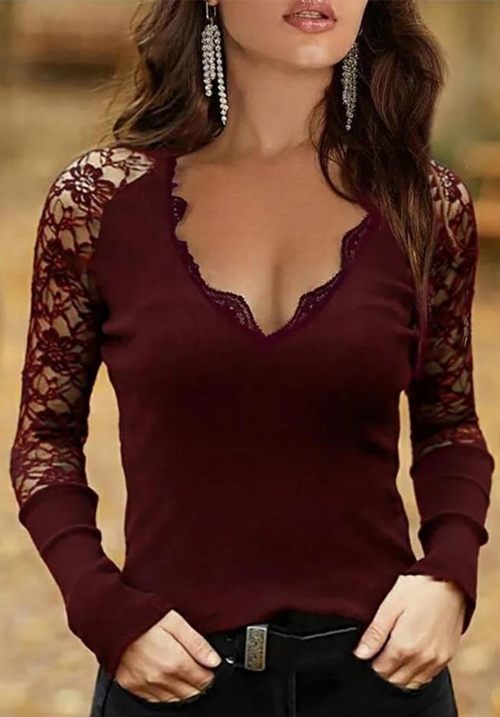 Kolları Gupur Yaka Dantel Detay Bluz (Bordo)