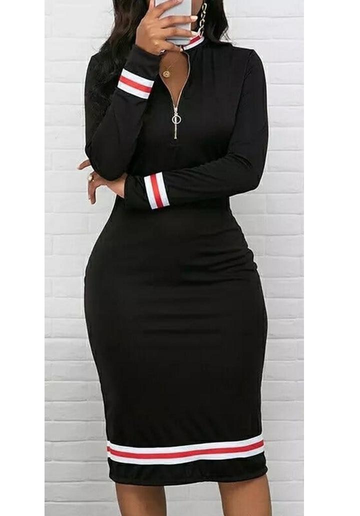 Yaka Fermuarlı Şerit Detay Kalem Elbise (Siyah)