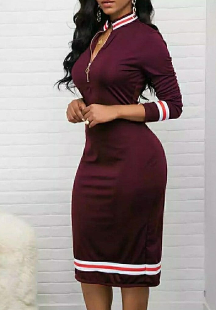 Yaka Fermuarlı Şerit Detay Kalem Elbise (Bordo)