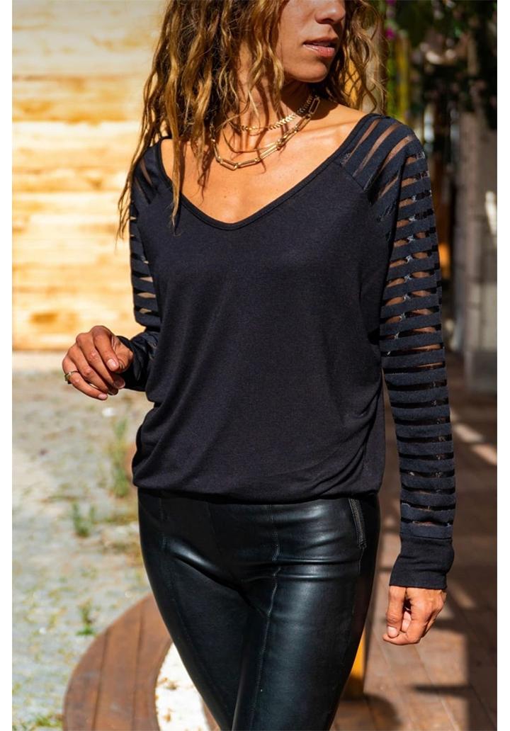 V Yaka Kolları Tül Şeritli Bluz (Siyah)
