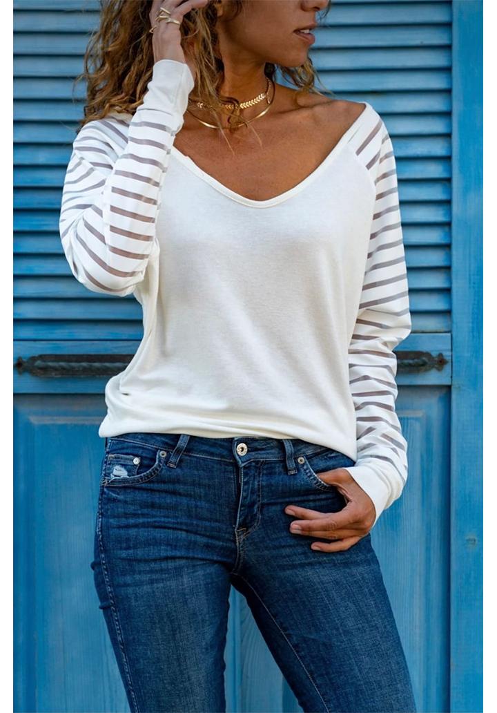 V Yaka Kolları Tül Şeritli Bluz (Beyaz)