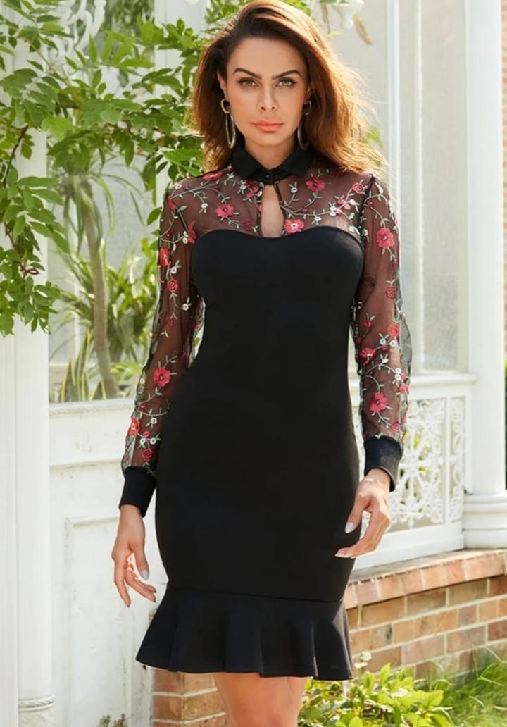Tül Üzeri Nakış İşleme Tasarım Elbise