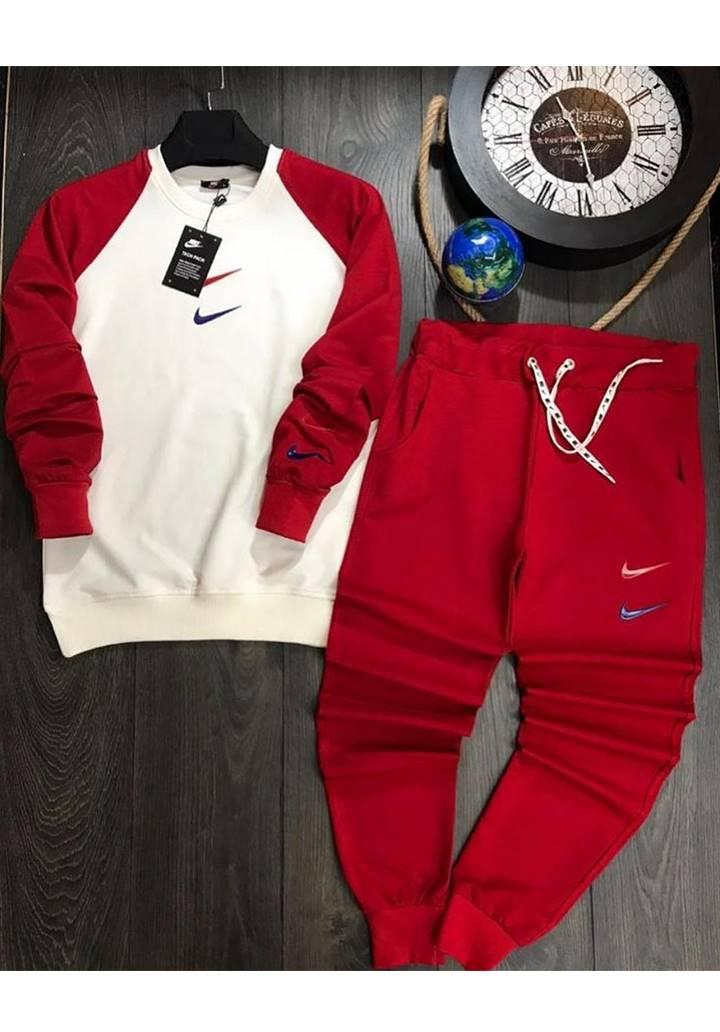 Nıke Kolları Garnili İkili Spor Takım (Kırmızı)