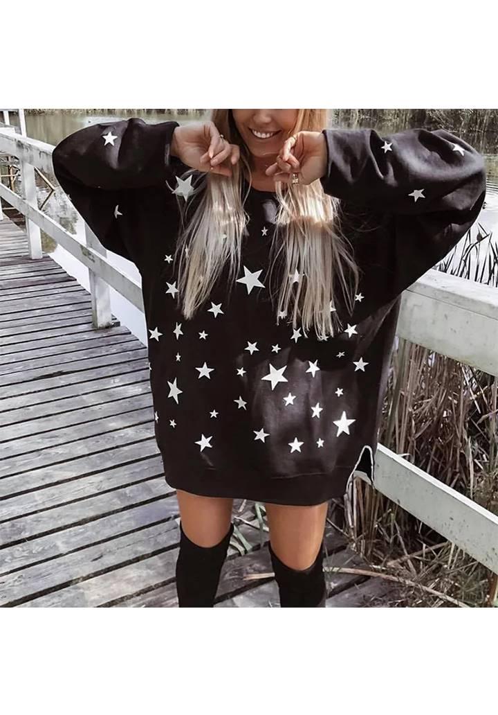 Yıldız Desen Şardonlu Üç İplik Sweat Elbise (Siyah)