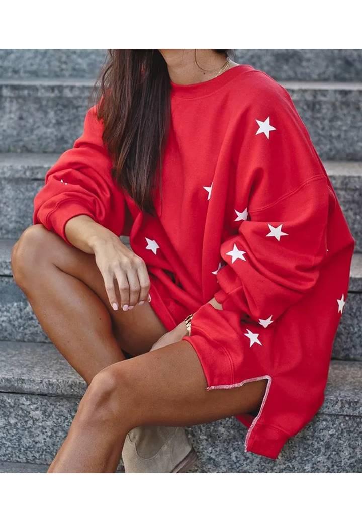 Yıldız Desen Şardonlu Üç İplik Sweat Elbise (Kırmızı)
