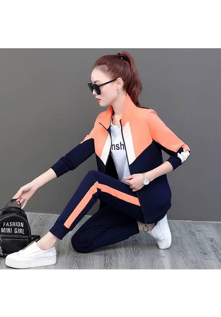 Bloglu Yanı Şeritli İkili Eşofman Takımı (Orange) - 1