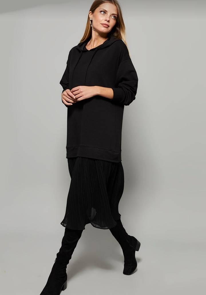 Eteği Pliseli İki İplik Sweat Elbise