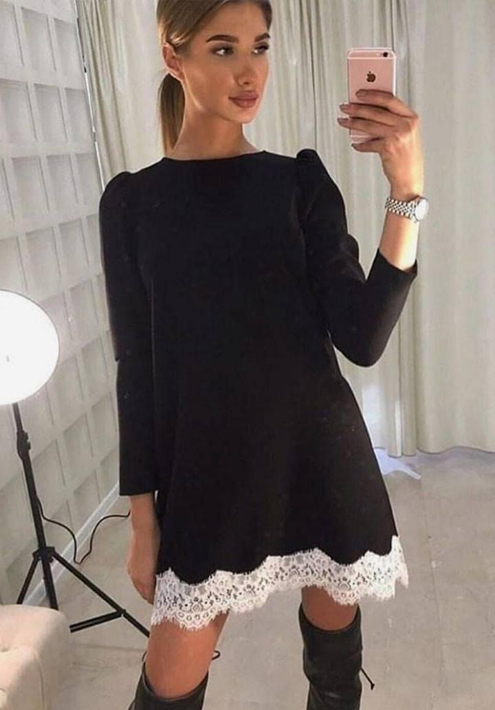 Etek ucu dantel akrelik elbise