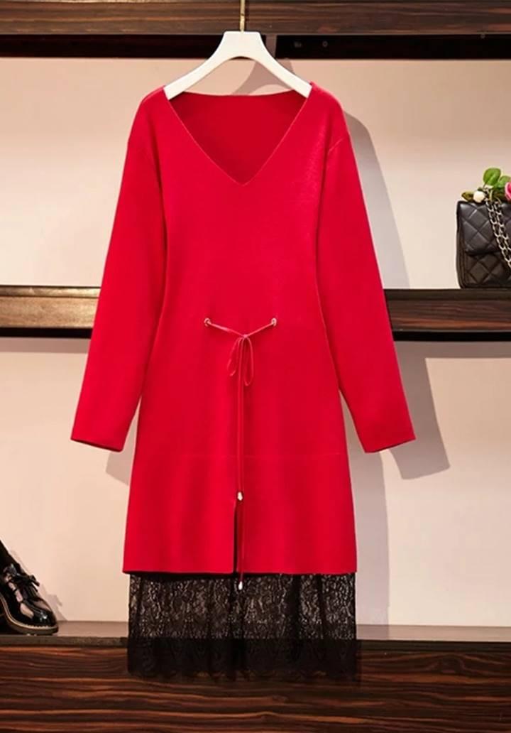 Eteği Dantel Beli Bağcıklı Triko Elbise (Kırmızı)