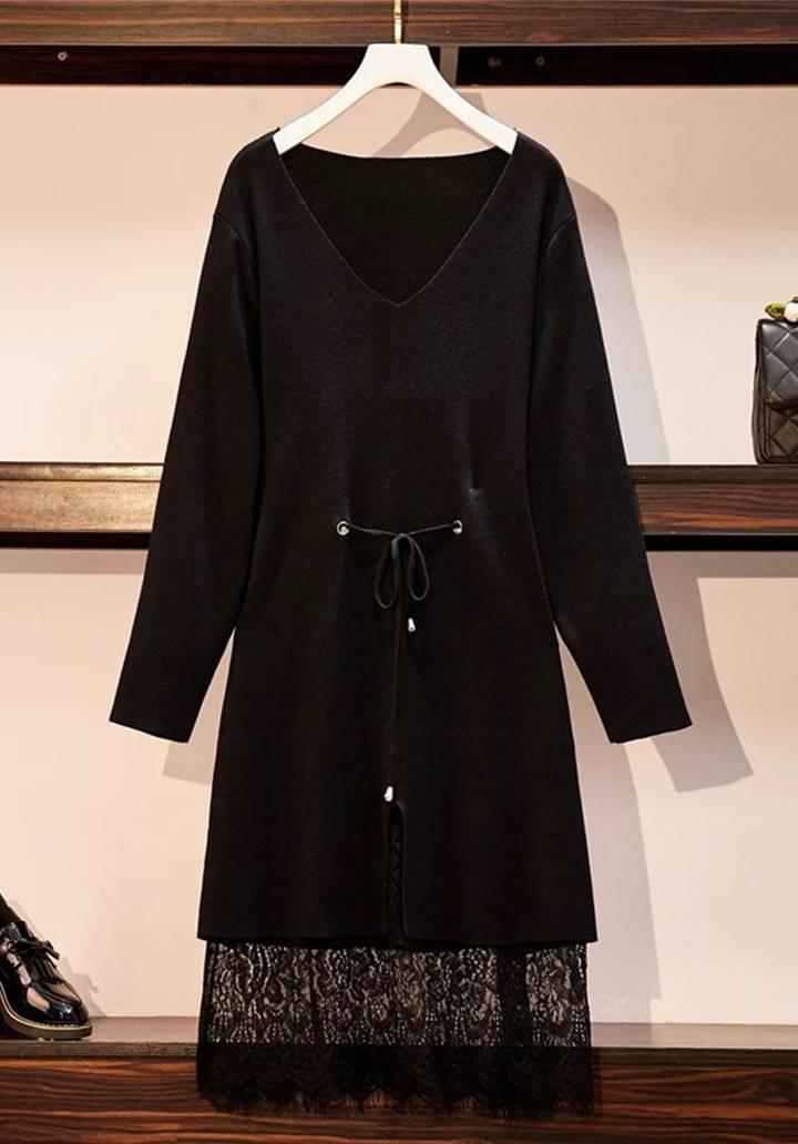 Eteği Dantel Beli Bağcıklı Triko Elbise (Siyah)