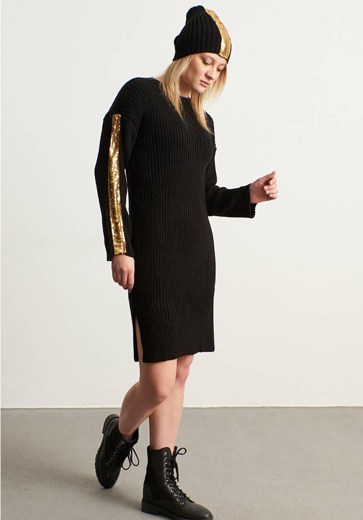 Kolları payet şeritli triko elbise bere takım(siyah)