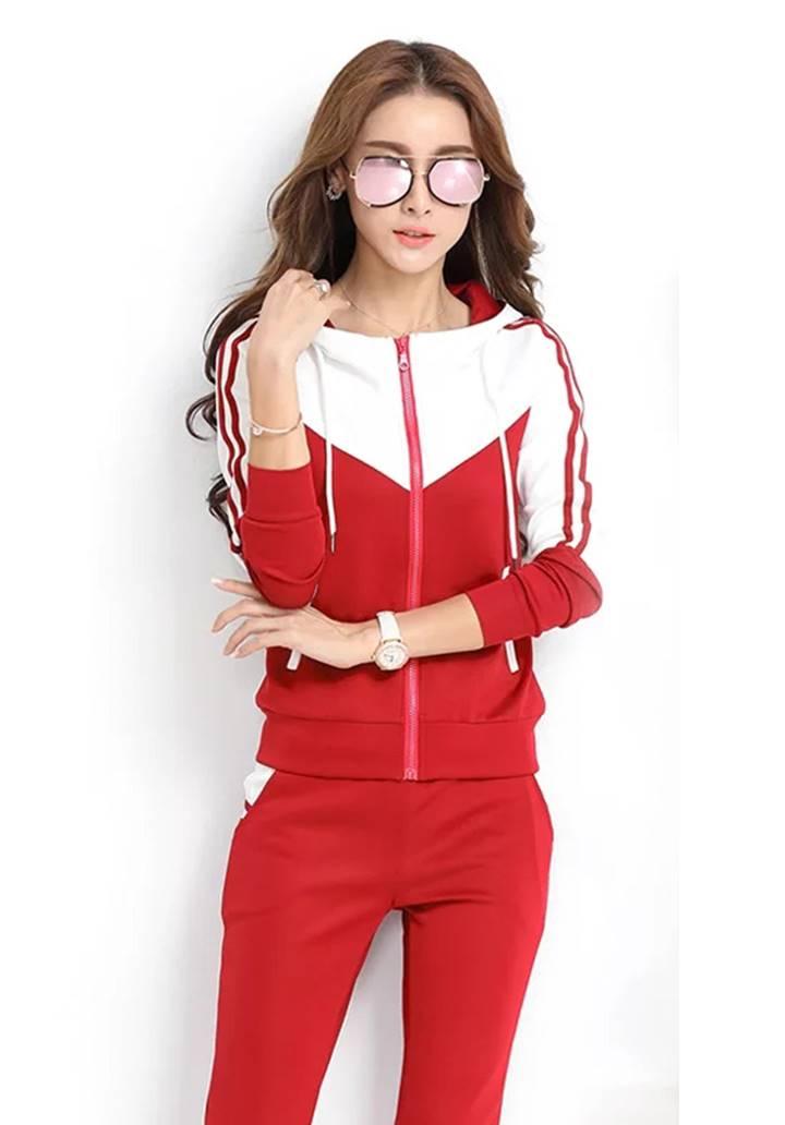 Kapşonlu Beyaz Garnili Eşofman Takımı (Kırmızı)