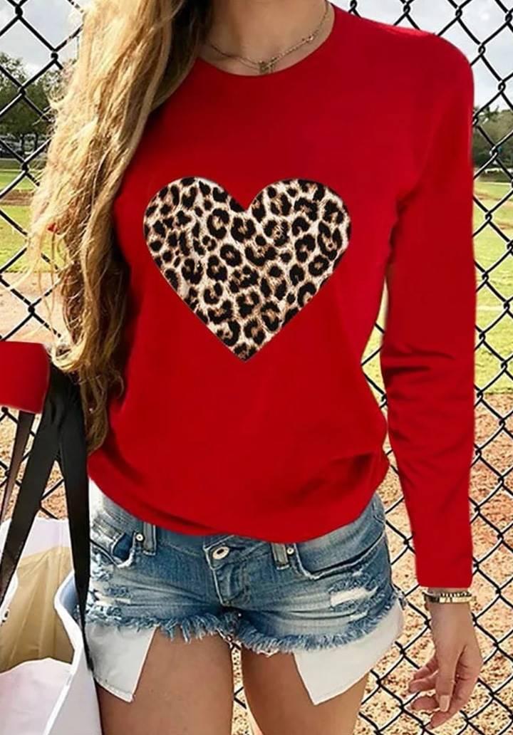 Kırmızı Love Leopar Baskı Bluz
