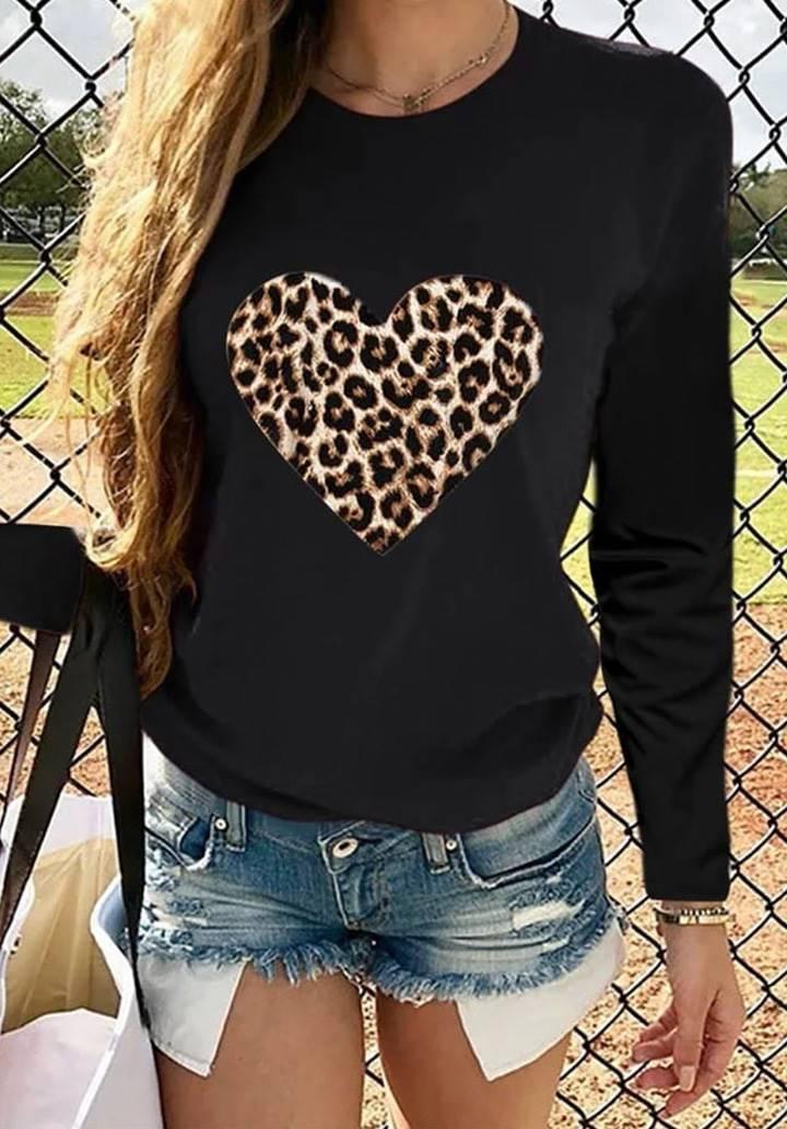 Siyah Love Leopar Baskı Bluz