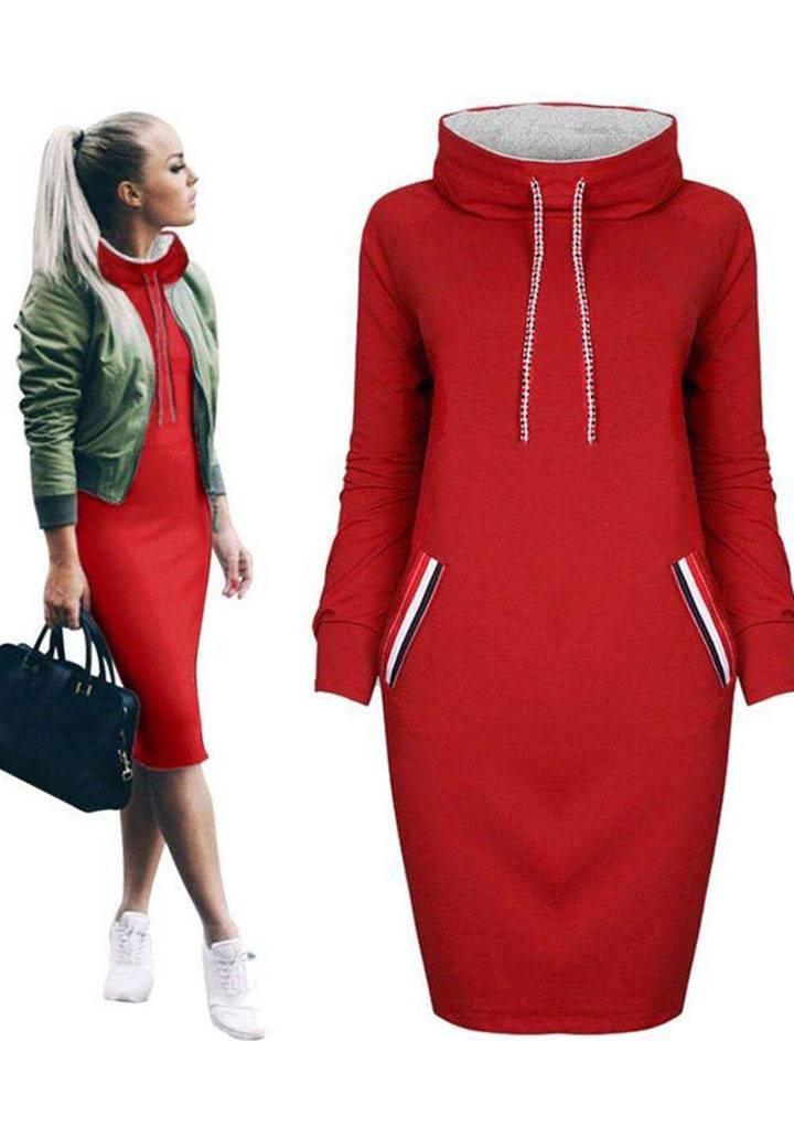 Midi boy şerit detay midi boy spor elbise(kırmızı)