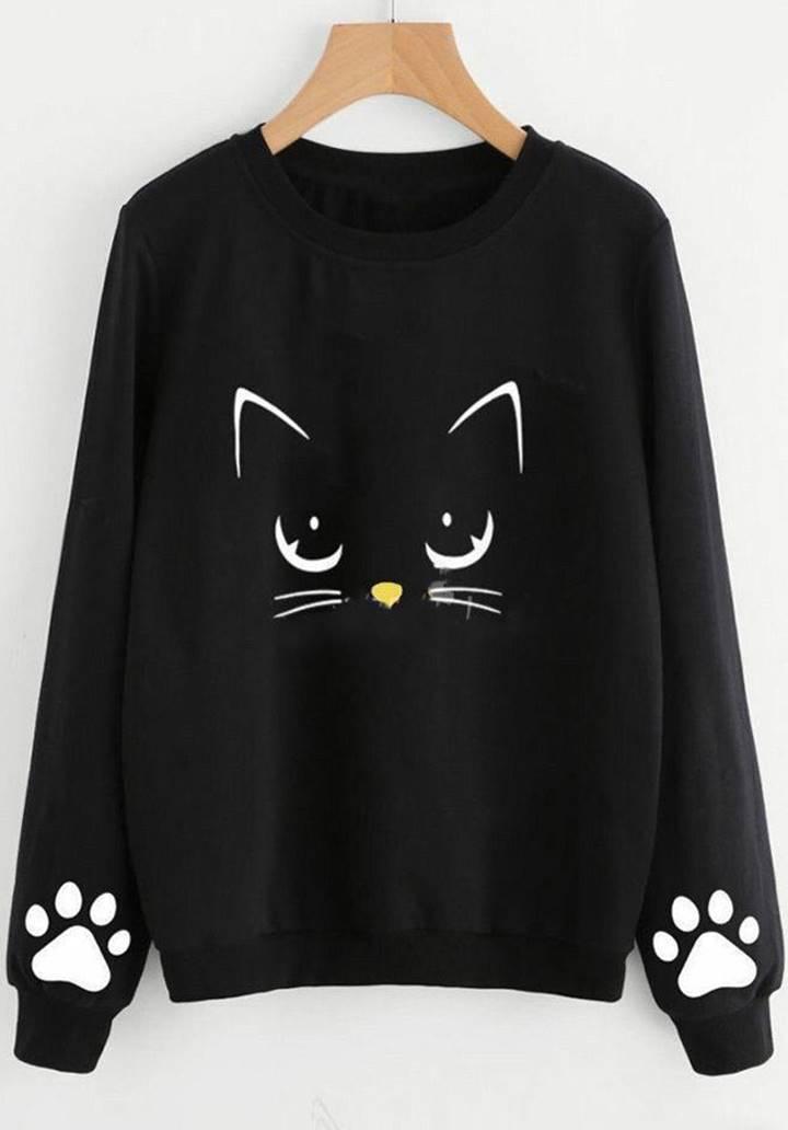 Siyah Cat Üç İplik Sweatshırt