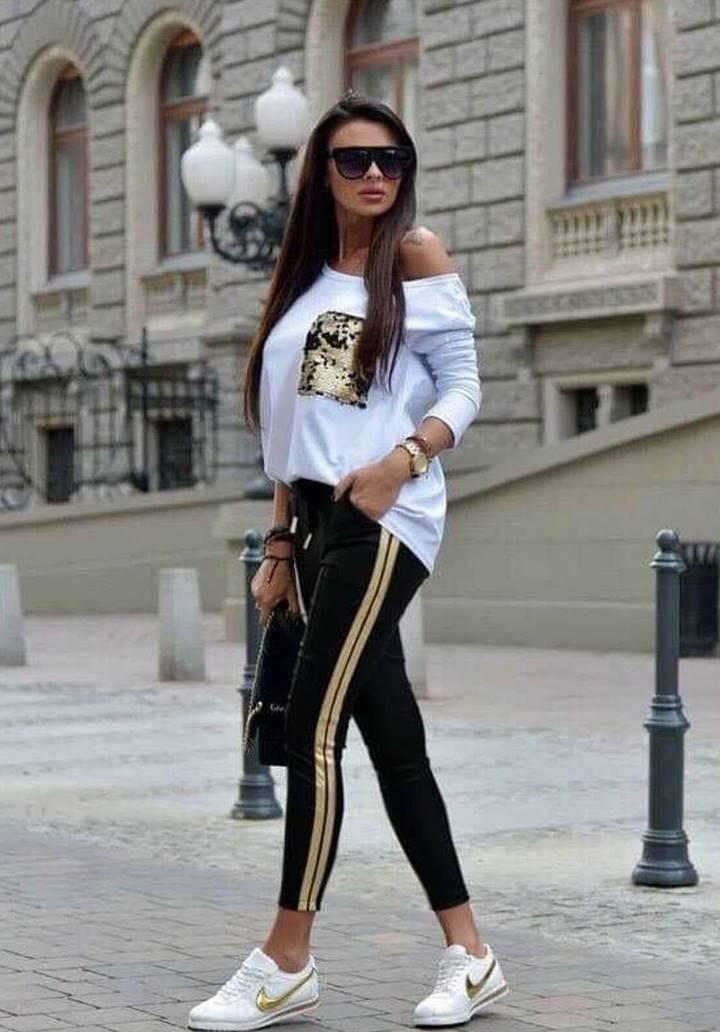 Cep Payetli Kayık Yaka Bluz Pantolon İkili Takım