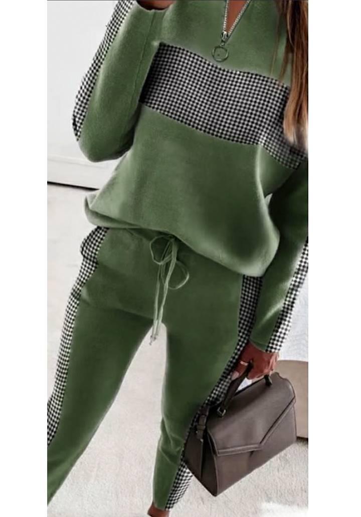 Yakası Fermuarlı Dama Desen İkili Takım (Yeşil)