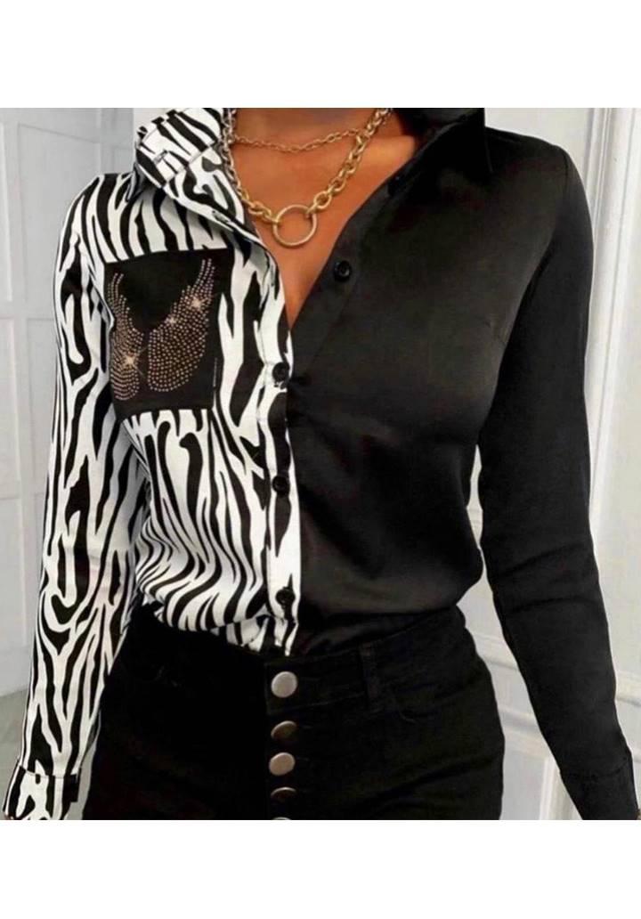 Zebra Desen Garnili Taşlı  Gömlek