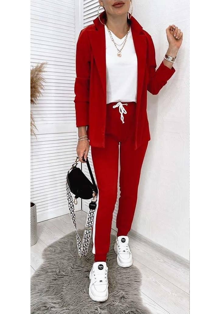 Ceket Pantolon Şeritli İkili Takım (Kırmızı) - 1