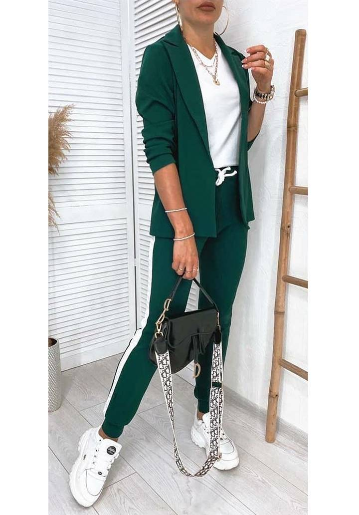 Ceket Pantolon Şeritli İkili Takım (Yeşil)