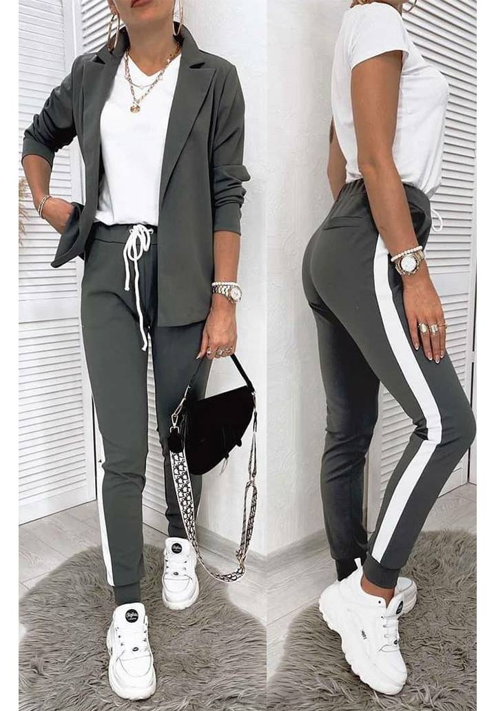 Ceket Pantolon Şeritli İkili Takım (Haki)