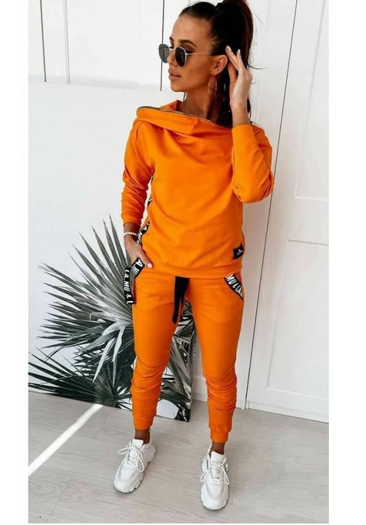 Yaka Fermuar Aksesuar Detay Tasarım Takım (Orange)