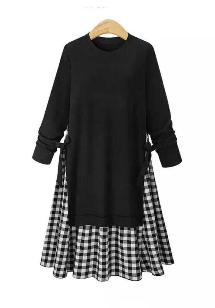 Eteği Ekose Fiyonk Detay Tasarım Elbise