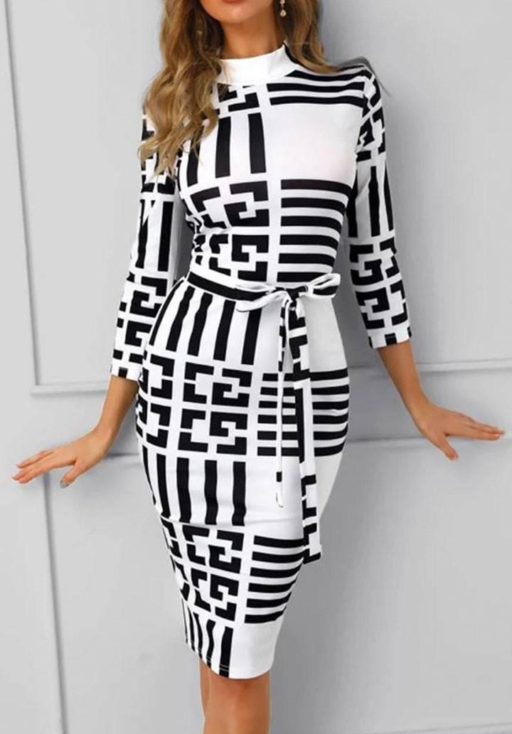 Geometrik desen midi boy kalem elbise