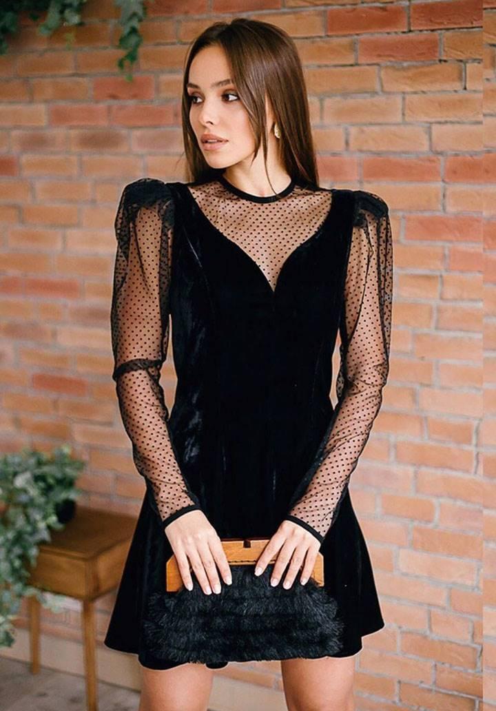 Tül üzeri puantiyeli kadife mini elbise