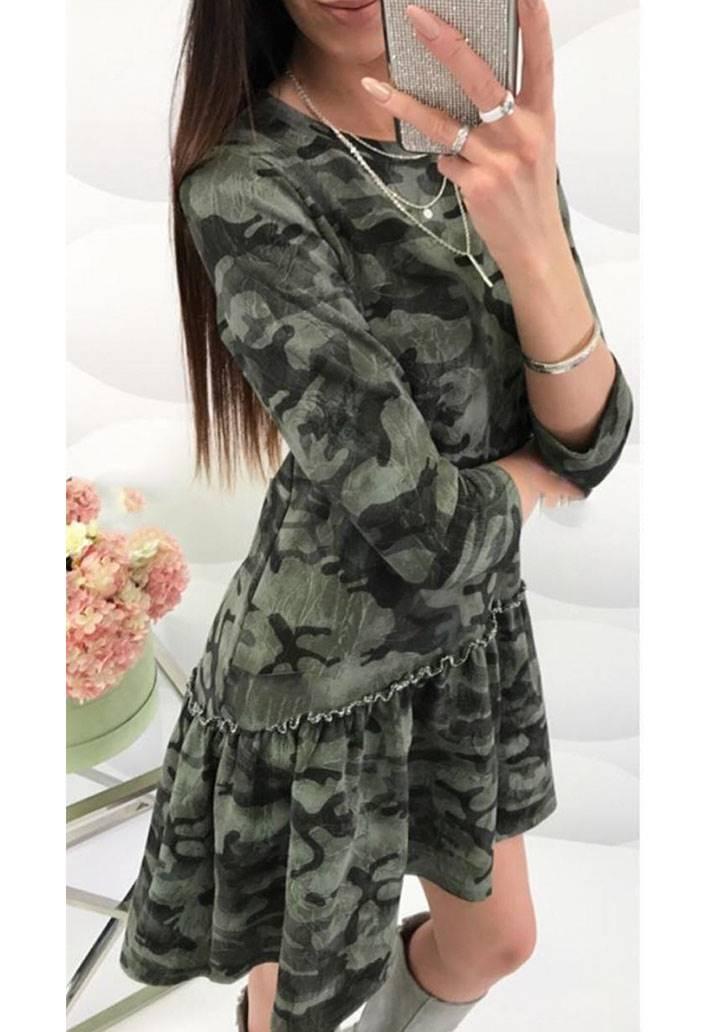 Eteği volanlı kamuflaj desen elbise