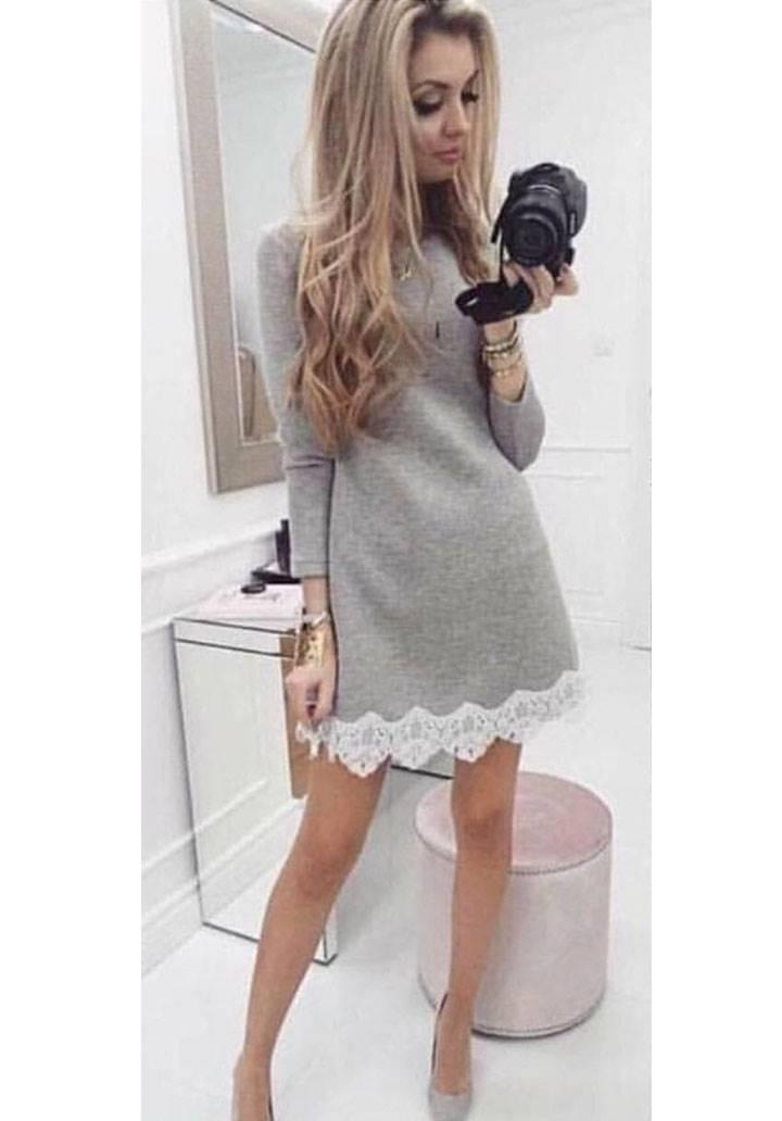Eteği dantel detay akrelik elbise-tunik