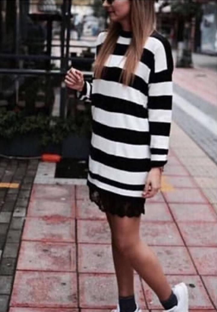 Eteği dantel çizgili akrelik elbise