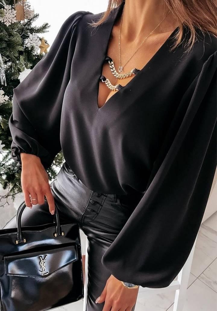 Yakası Zincir Detay Sandy Bluz (Siyah)