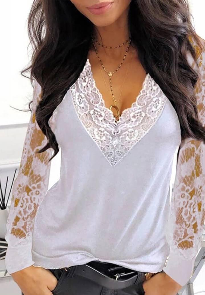 Kol Yaka Gupur Detay Sandy Bluz (Beyaz)
