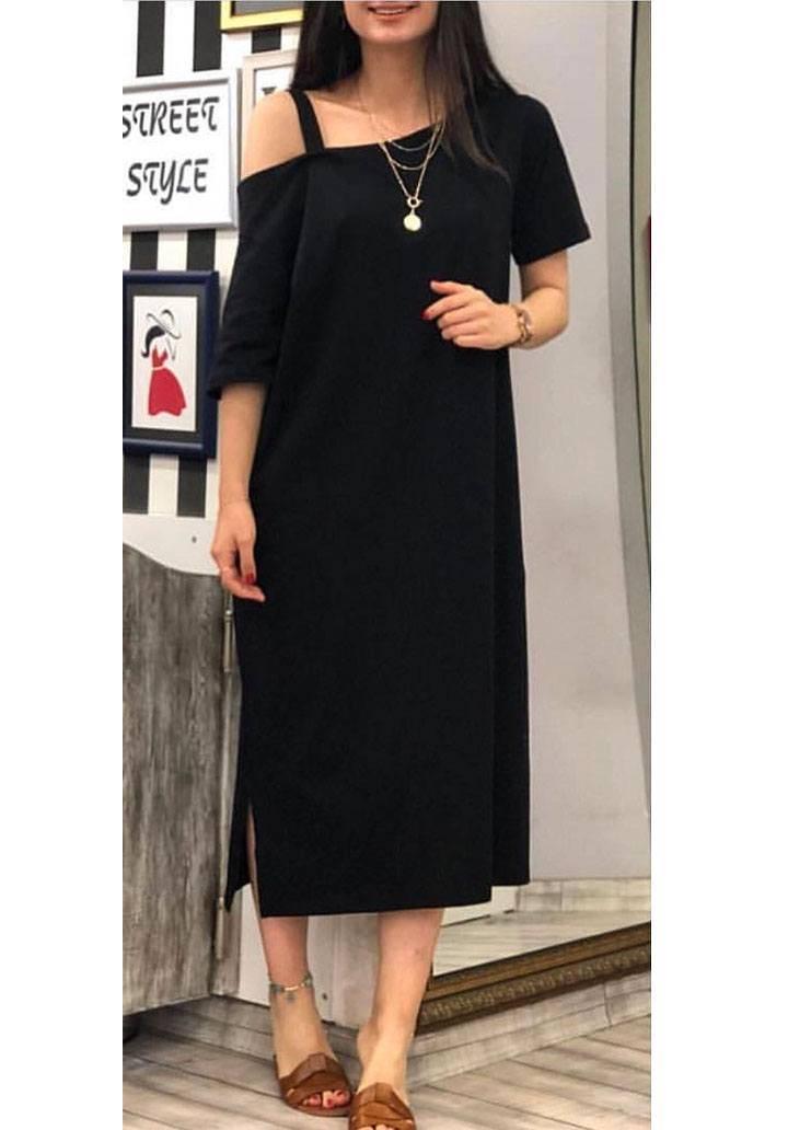 Siyah omuz bantlı viscon elbise