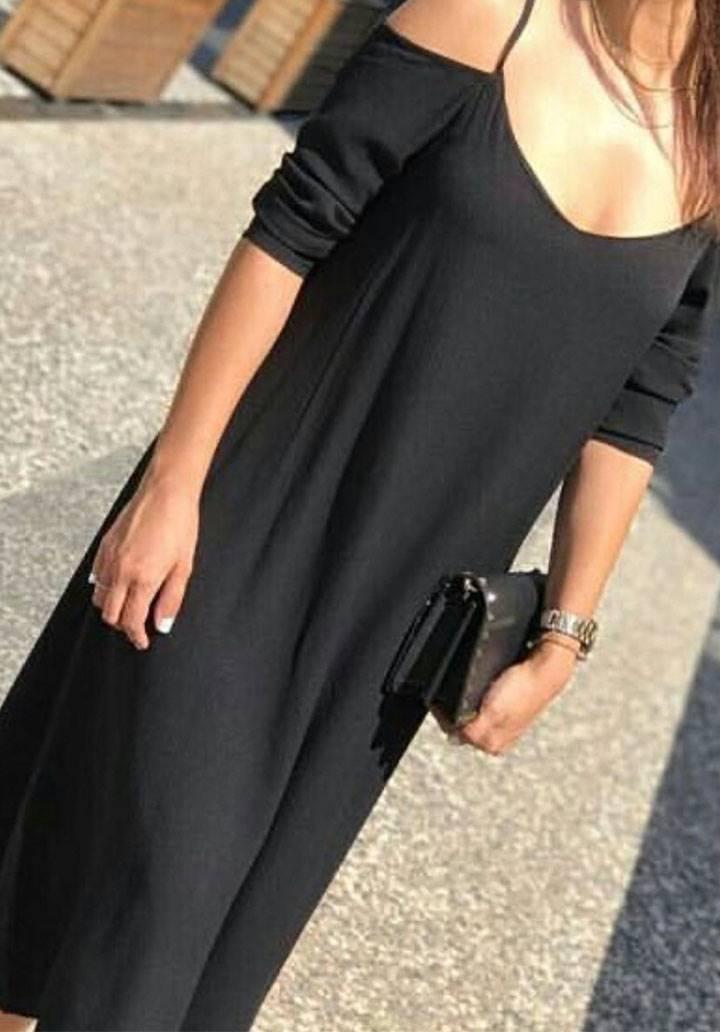 Siyah omuz dekolteli fakir kol salaş elbise