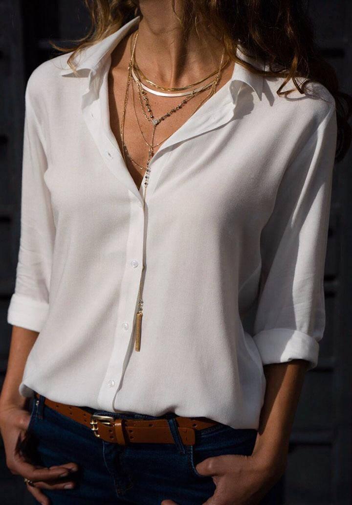 Ekru basic pamuklu kumaş gömlek