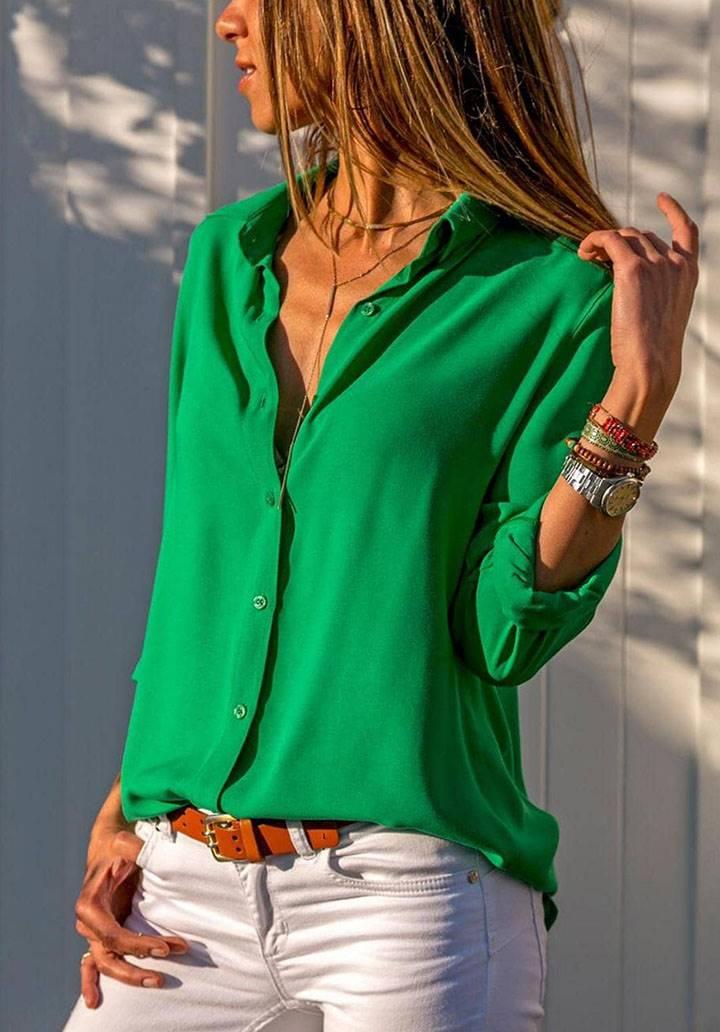 Yeşil basic pamuklu kumaş gömlek