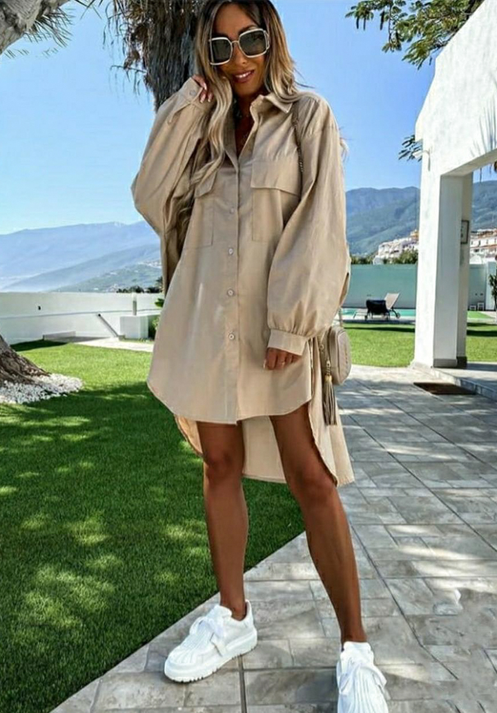 Çift Cep Poplin Kumaş Gömlek Elbise (Vizon)