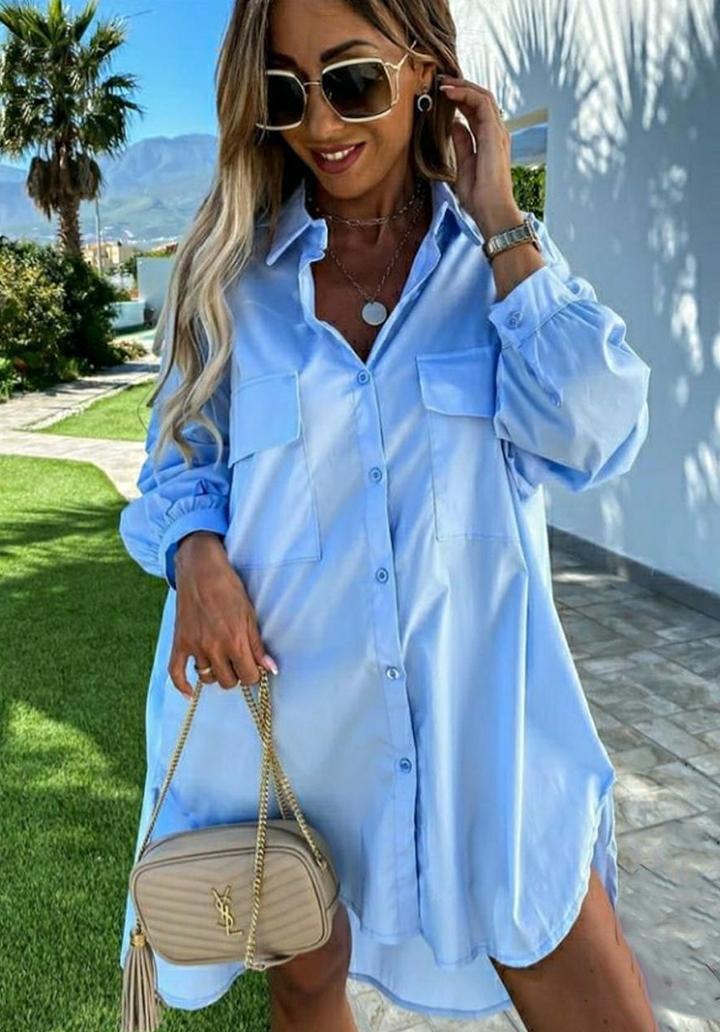 Çift Cep Poplin Kumaş Gömlek Elbise (Mavi)