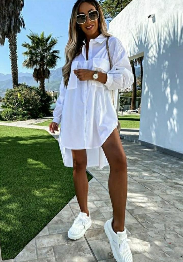 Çift Cep Poplin Kumaş Gömlek Elbise (Beyaz)