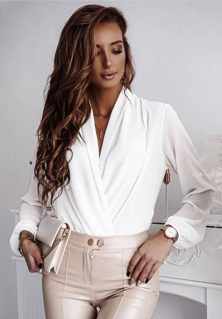 Yeni Sezon Kruvaze Yaka Bluz (Beyaz)